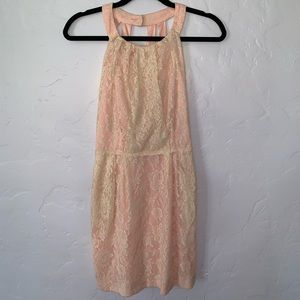 Pink and tan lace backless dress